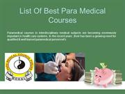 List Of Best Para Medical Courses