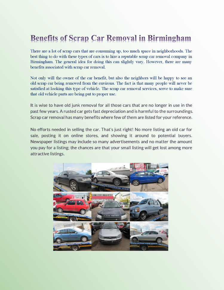 Benefits of Scrap Car Removal in Birmingham |authorSTREAM