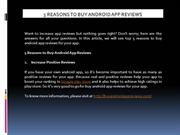 5 Reasons to Buy Android App Reviews