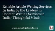 Reliable Article Writing Services In India by the Leaders in Content W