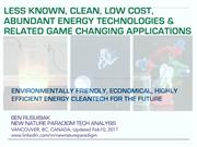 Less known, Clean, Low cost, Abundant Energy Technologies