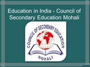 Education in India - Council of Secondary Education Mohali
