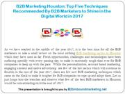 B2B Marketing Houston- Top Five Techniques Recommended By B2B Marketer