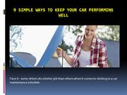 9 Simple Ways to Keep Your Car Performing Well