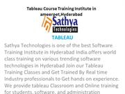 Tableau course training institute Ameerpet Hyderabad