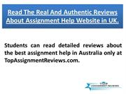 Read The Real And Authentic Reviews About Assignment help website in U