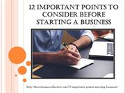 12 Important Points to Consider Before Starting a Business