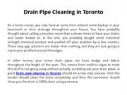 Drain pipe cleaning in Toronto