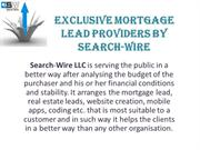 Exclusive Mortgage Lead Providers By Search-Wire