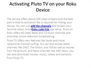 Activating Pluto TV on your Roku Device