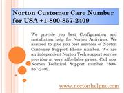 Norton Customer Care Number for USA +1-800-857-2409