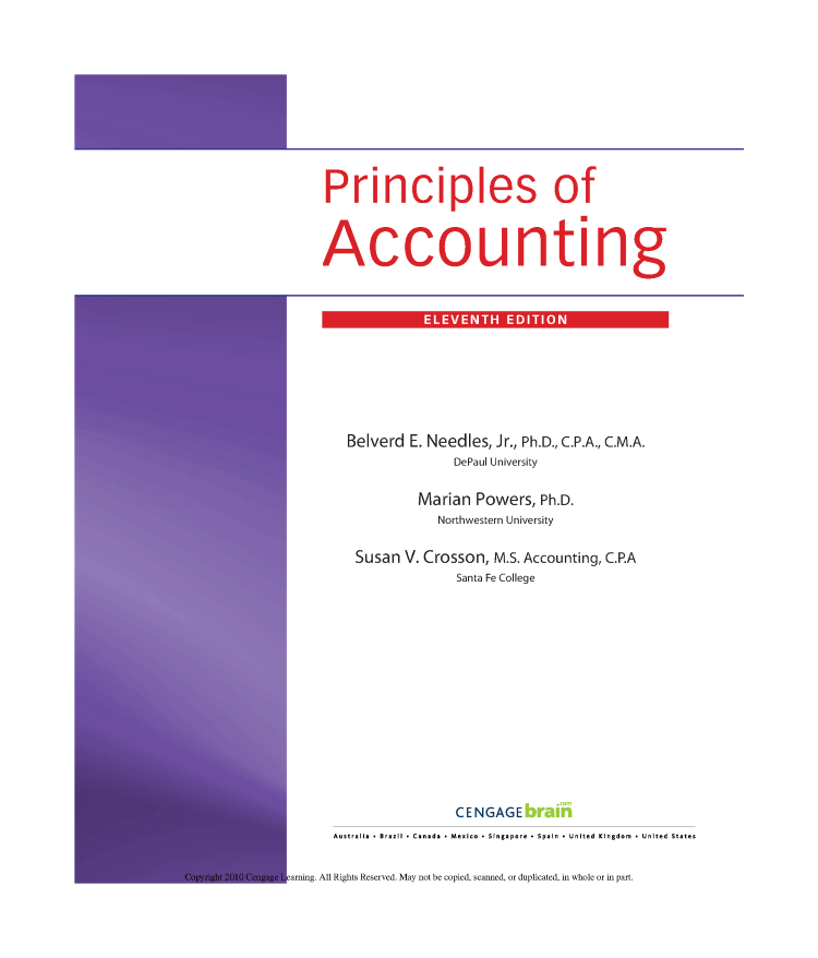 Principles of Accounting 11E Belverd E  Needles, Marian Powers, S
