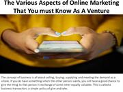 The Various Aspects of Online Marketing That You m