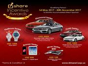 iShare Incentive Awards and Trips 1st May 2017 to 30th November 2017