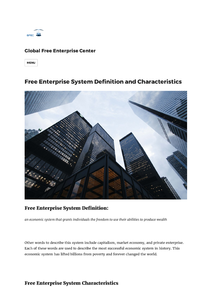 Free Enterprise System Definition And Characteristics