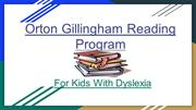Orton Gillingham Reading Program