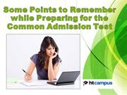 Some Points to Remember while Preparing for the Common Admission Test