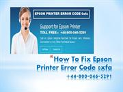 How to fix Epson Printer Error Code 0xfa?