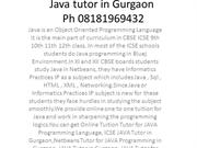 Java tutor in Gurgaon Ph 08181969432