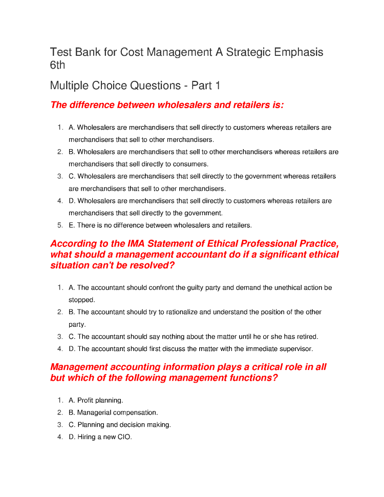 Multiple Choice Questions On Planning In Management