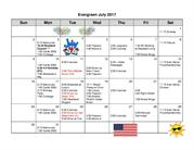 Activities for Residents in Evergreen July 2017