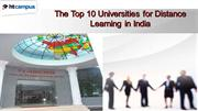 The Top 10 Universities for Distance Learning in India
