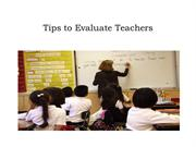 Tips to Evaluate Teachers - Kristine Raap