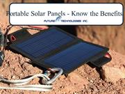 Portable Solar Panels - Know the Benefits