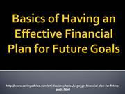 Basics of Having an Effective Financial Plan for Future Goals