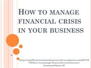 How to manage financial crisis in your business