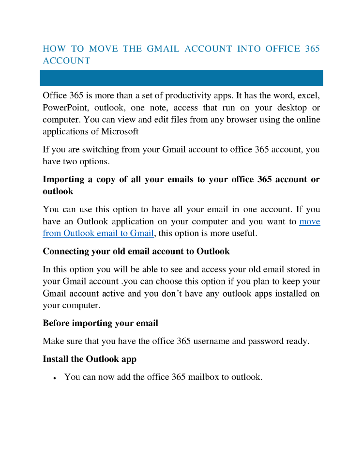 how to move the gmail account into office 365 account authorstream