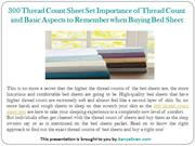 300 Thread Count Sheet Set Importance of Thread Count and Basic Aspect
