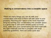 Making a conservatory into a useable space