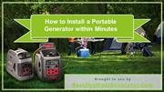 How to Install a Portable Generator within Minutes