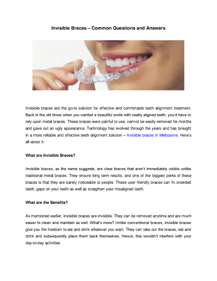Invisible Braces – Common Questions And Answers |authorSTREAM