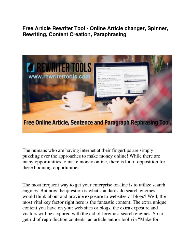 Free Article Rewriter Tool - Online Article Changer, Spinner