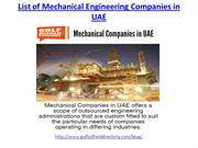Find the best list of mechanical engineering companies in UAE