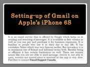 Setting-up of Gmail on Apple's iPhone 6S