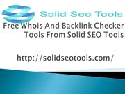 Free Whois And Backlink Checker Tools From Solid SEOTools