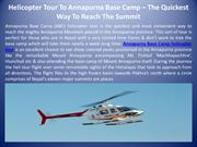 Helicopter Tour To Annapurna Base Camp – The Quickest Way To Reach The