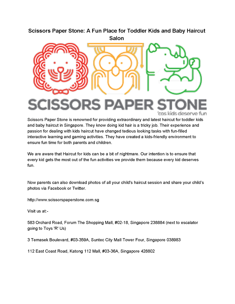 Scissors Paper Stone a Fun Place for Toddler Kids And Baby
