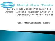 Best Duplicate Content Validation Tool- Article Rewriter &