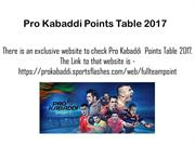 Pro Kabaddi Points Table 2017