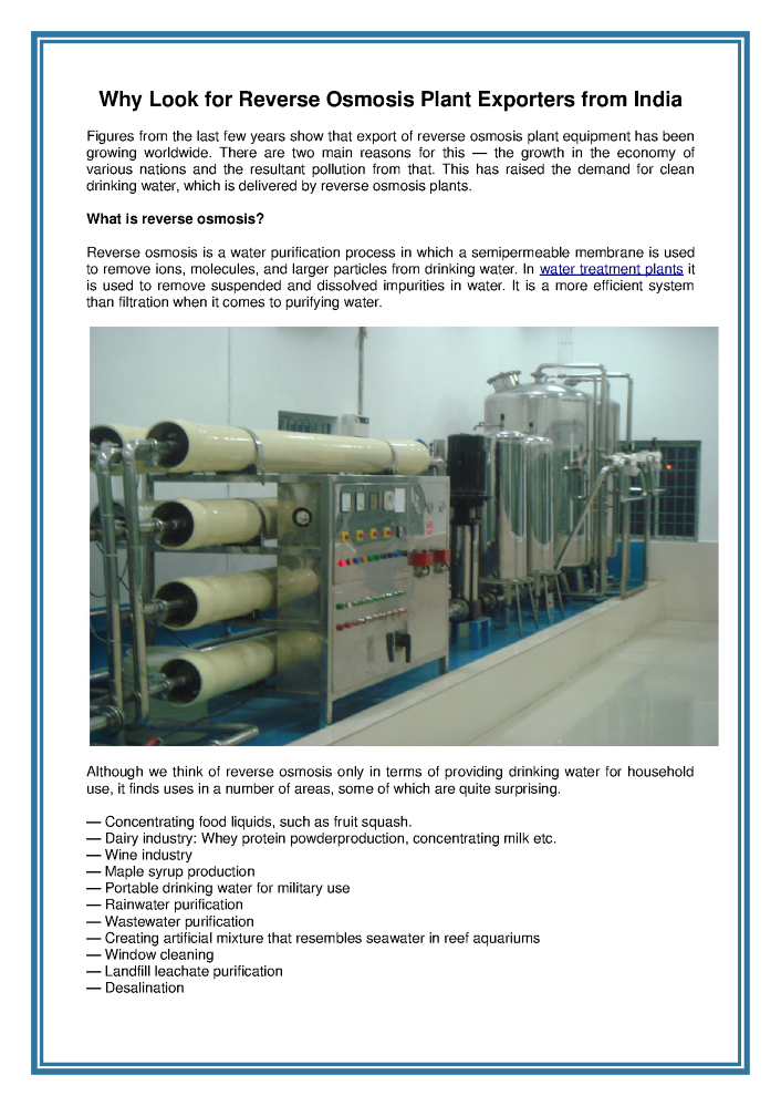 Why Look for Reverse Osmosis Plant Exporters from India