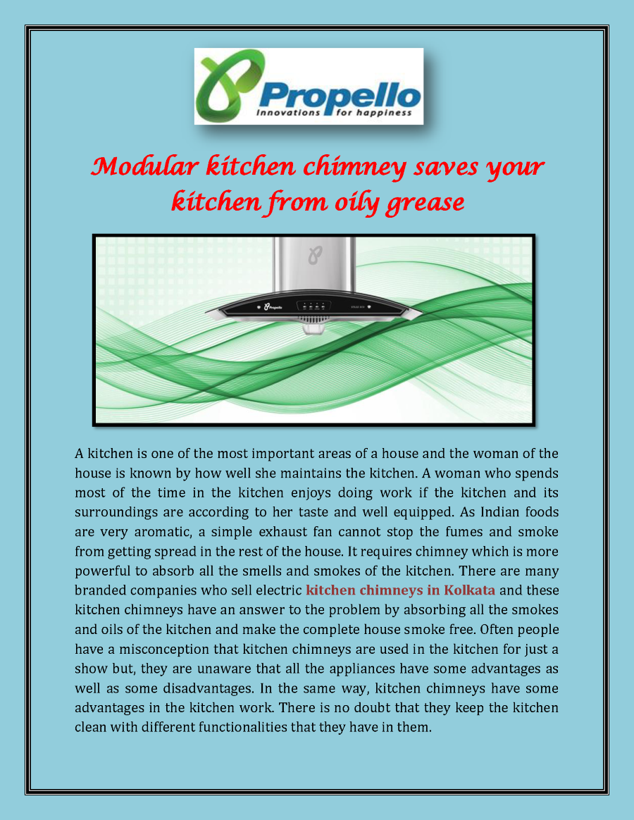Modular Kitchen Chimney Saves Your Kitchen from Oily Grease ...