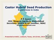 Castor Hybrid Seed Production India: Experiences Dr. PP Zaveri