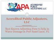 Best Adjusting Firm to help in Water Damage in Port Saint Lucie, FL