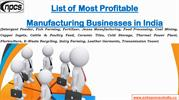 List of Most Profitable Manufacturing Businesses in India
