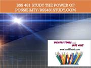 BSS 481 STUDY The power of possibility/bss481study.com