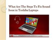 What are the steps to fix sound issue in Toshiba laptops